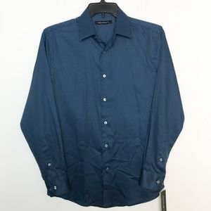 Axist S Dress Shirt Ensign Blue Button Front NWT